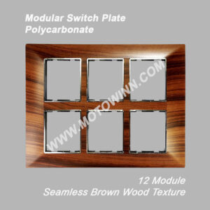 MODULAR POLYCARBONATE SWITCH PLATE, 12 MODULE, SEAMLESS BROWN WOOD TEXTURE