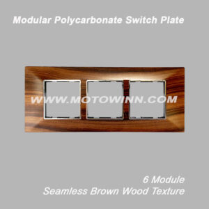 MODULAR POLYCARBONATE SWITCH PLATE, 6H MODULE, SEAMLESS BROWN WOOD TEXTURE (Ref. No. Lam2008H)