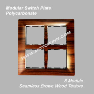 Modular Polycarbonate Switch Plate, 8 Module, Seamless Brown Wood Texture