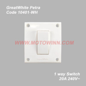GreatWhite Petra, 1Way Switch 20A 240V ~ (Ref No. 10401WH)