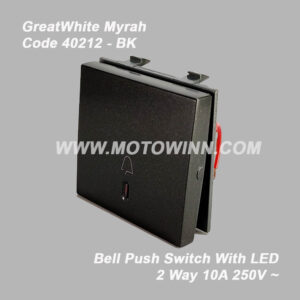 GreatWhite – Myrah Bell Push Switch with LAD 2M 10A 250V (Ref No. : 40212BK)