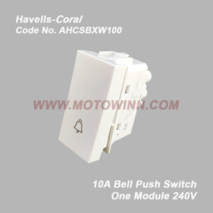 HAVELLS Coral Bell Push Switch 10A 240V~ (Ref. No. AHCSBXW100 )