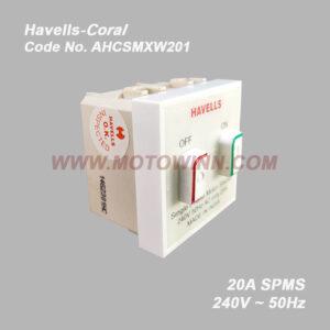 HAVELLS Coral SPMS 20A 50Hz 240V Havells Screw Type (REF. No. AHFSMXW201)