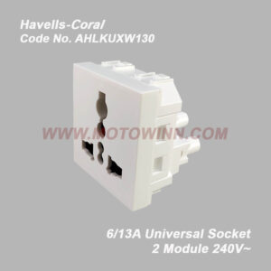 Havells-Coral Universal Socket 6/13A 2 Module (Ref No. AHLKUXW130)