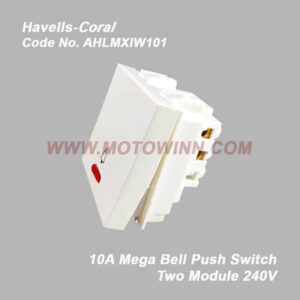 HAVELLS Coral 10A Mega Bell Push Ind. Switch 240V~ (REF. No. AHLMXIW101)