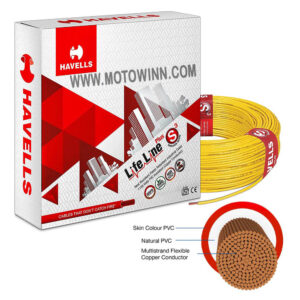 Havells 1.0 Sqmm Yellow LifeLine Plus Single Core HRFR PVC Insulated Flexible Cables, WHFFDNRA16X0, LENGTH: 90M