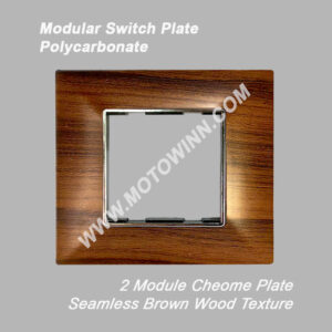 Lamcore Modular Polycarbonate Switch Plate, 4 Module, Seamless Brown Wood Texture (Ref No. Lam2002)