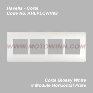 Havells Coral Glossy White 8 Module Plate Horizontal (Ref. No. AHLPLCWH08)