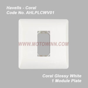 Havells Coral Glossy White 1 Module Plate (Ref. No. AHLPLCWV01)
