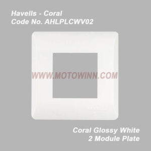 Havells Coral Glossy White 2 Module Plate (Ref. No. AHLPLCWV02)