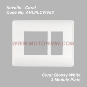 Havells Coral Glossy White 3 Module Plate (Ref. No. AHLPLCWV03)