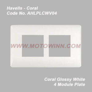 Havells Coral Glossy White 4 Module Plate (Ref. No. AHLPLCWV04)