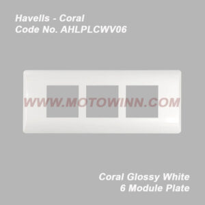 Havells Coral Glossy White 6 Module Plate (Ref. No. AHLPLCWV06)
