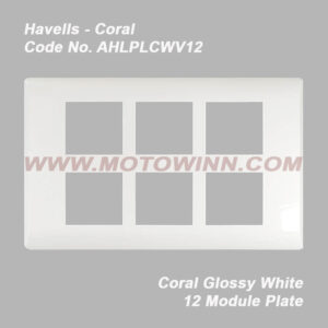 Havells Coral Glossy White 12 Module Plate (Ref. No. AHLPLCWV12)