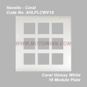Havells Coral Glossy White 18 Module Plate (Ref. No. AHLPLCWV18)