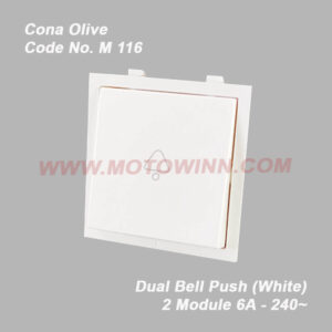 Cona Smyle – Olive 2Module Dual Bell Push Switch White (Ref. No. M–116)